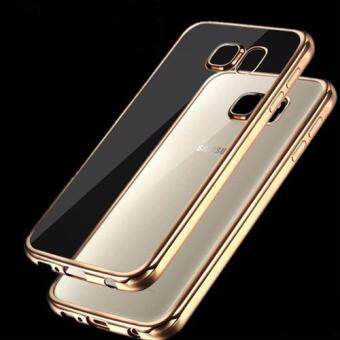 Harga Shop Jung เคสฝาหลังใส ขอบทอง Samsung Galaxy S6 case Ultra Thin clear cover รุ่น 000278-(Gold rim)
