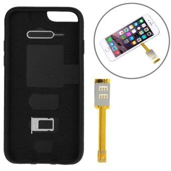 Harga Bluesky iPhone 6 Plus/6S Plus Dual SIM Card Adapter with a Back Case Cover (Black) - Intl