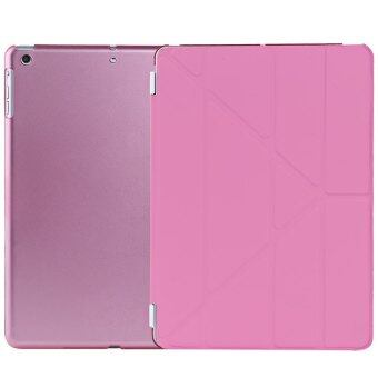 Harga Ultra Slim Removable PU Leather PC Back Cover Smart Sleep Multi-folding Stand for iPad Air (Pink)