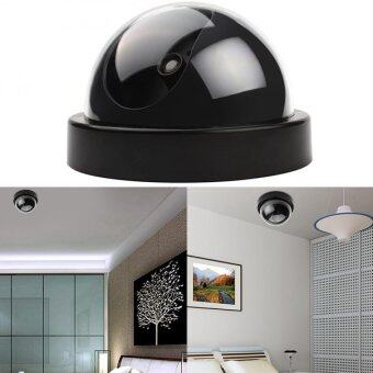 Harga CCTV Dummy Fake Cameras LED Surveillance Dome Home Security Red Flashing Light (Black)