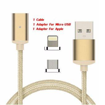 Harga 2 in 1 2.4A Magnetic Cable Charge Data Cable for Apple iPhone 7 7 Plus 6S 5 SE Micro USB Charging Cable Android for Samsung HTC Phone, Gold - intl