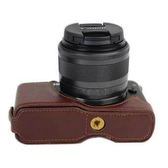 Harga PU Camera Half Body Bottom Case Cover for Canon EOS M10(Coffee) - intl