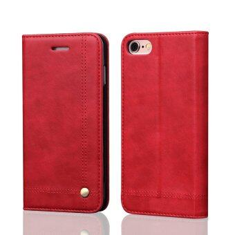 Harga Flip Cases for Apple iPhone 6 / 6S 4.7 inch iOS Smartphone - Drawing Magnet Design Stand Feature Shock Absorbing Premium Soft PU Leather Wallet Cover Case (Red) - intl