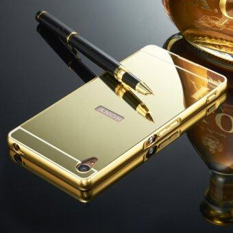Harga Elaike For Sony Xperia Z1 2 in 1 Luxury Aluminum Metal Mirror PC Phone Cover Case (Gold) - intl