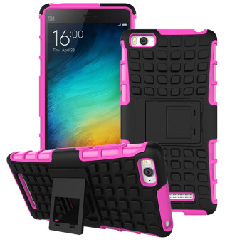 Harga RUILEAN Hybrid Armor Design Tough Rugged TPU + PC Dual-Layer Kickstand Case for Xiaomi Mi 4i M4i 4C (Hotpink)