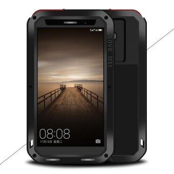 Harga LOVE MEI Powerful Case for Huawei Mate 9 Shockproof Drop-proof Dust-proof (Metal + Silicone + Tempered Glass) - Black - intl