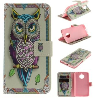 Leather Case Flip Stand Cover for Motorola Moto E4 Plus (Owl) -intl