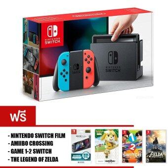 Nintendo Switch [Neon Blue and Neon Red Joy-Con] + The Legend ofZelda: Breath of the Wild + 1-2-Switch + Amiibo 1 Unit + ScreenProtector Film