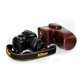 PU Leather Camera Case Bag Cover with Tripod Design for NikonD3200/D3100/D3300 (