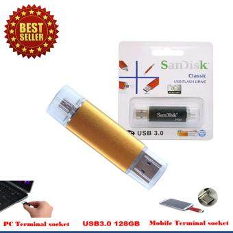 Sandisk 2 in 1 USB & Micro USB Flash Drive 128 GB. สีทอง