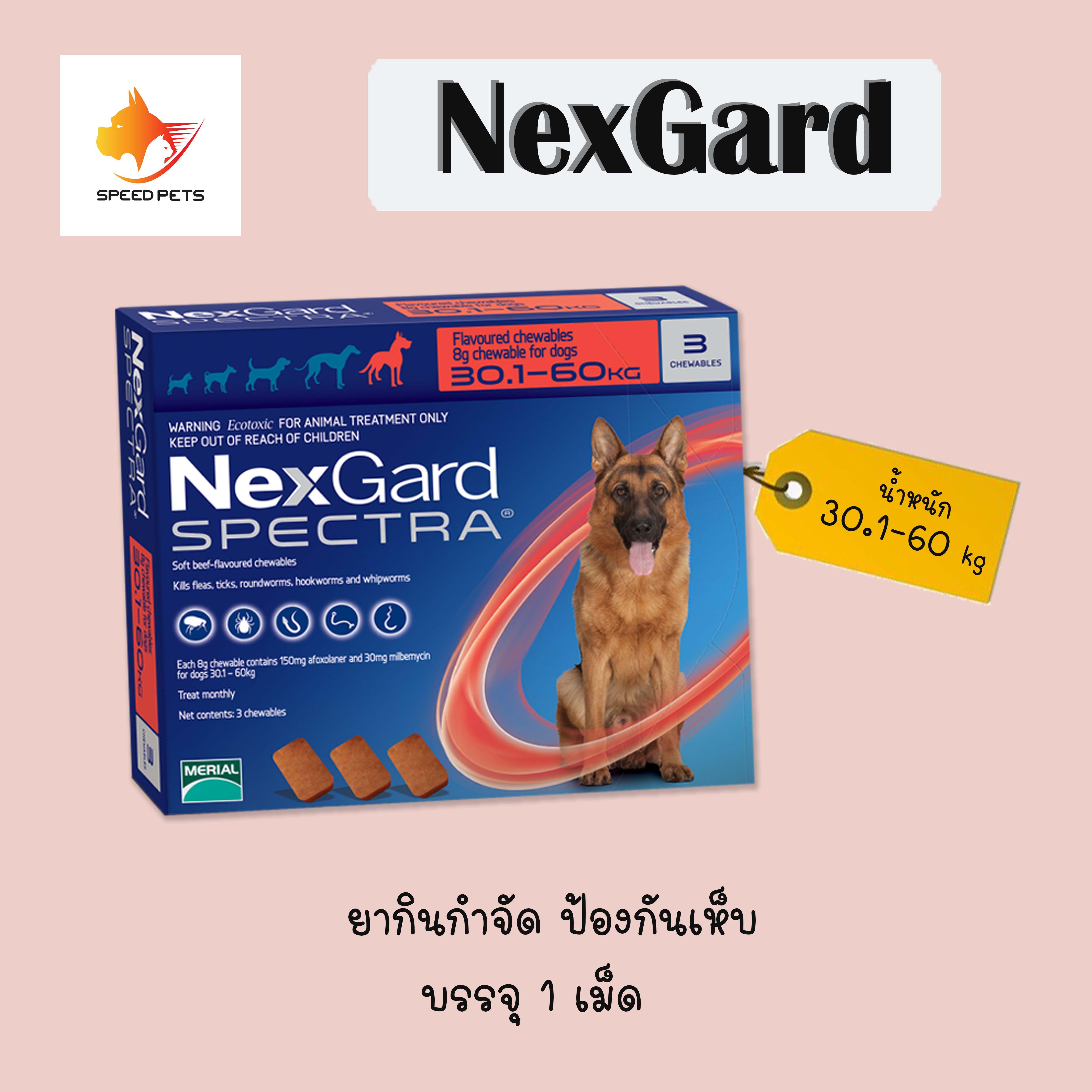 Nexgard Spectra Dog 30-60 Kg X 1 Tablet เห็บ หมัด 30-60 กก.( จำนวน 1 ชิ้น / เม็ด ) Exp 10-2022.