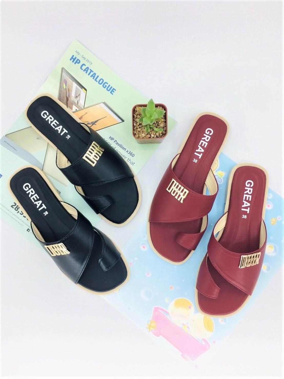 รองเท้าแตะลำลองแบบสวม รองเท้าแฟชั่น ดีไซน์ดูเรียบเก๋สวยงาม รองเท้าพื้นนิ่ม เป็นหนังpu นูบัคหนังนิ่ม สวมใส่สบาย คุณภาพคุ้มราคา มี 4 สี ให้เลือก.