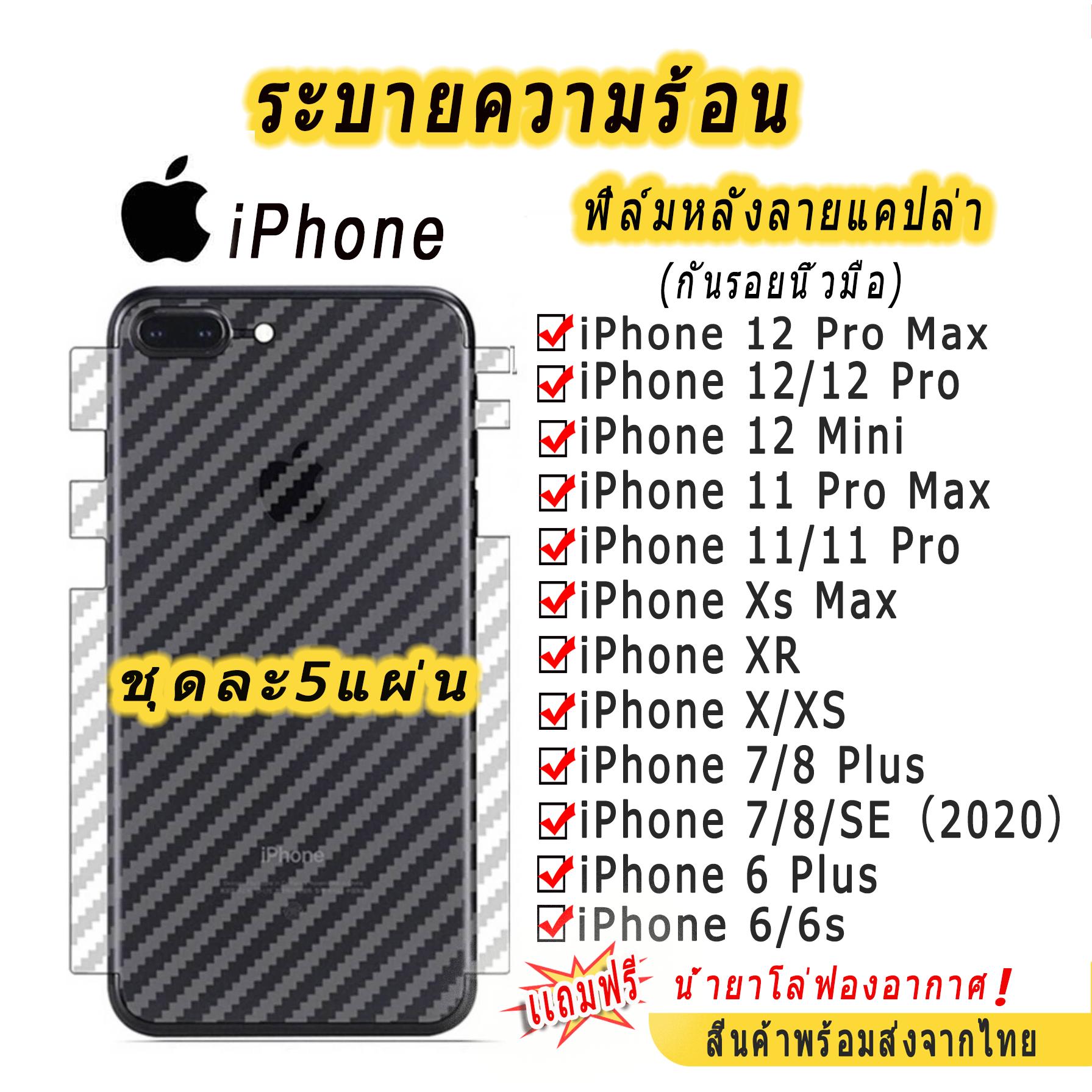 001 ฟิล์มหลังใสเคฟล่า หุ้มรอบเครื่อง Iphone 11/11pro/11promax/12/12pro/12mini/12promax/x/xr/xsmax/6/6plus/7/8plus/se2020.