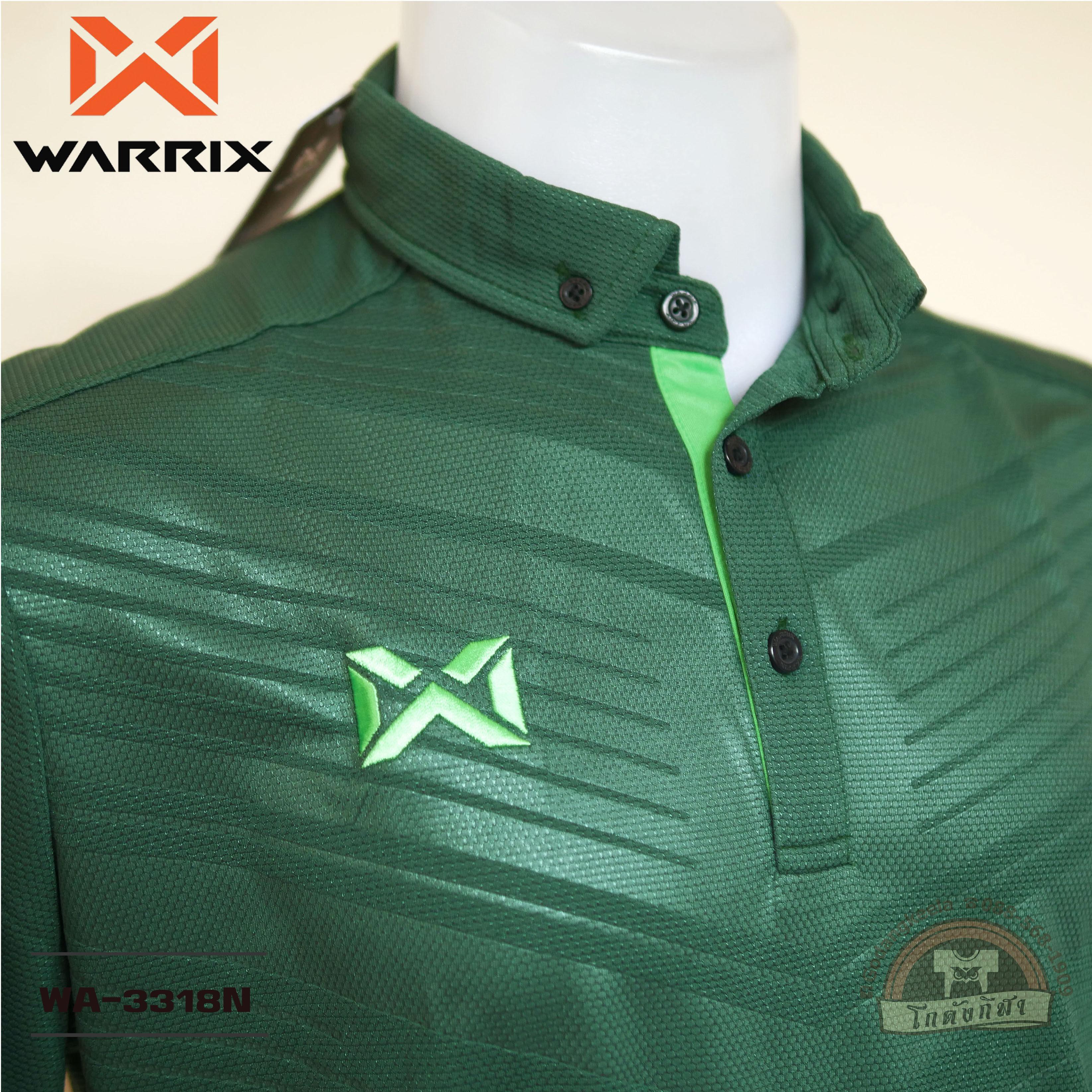 Warrix เสื้อโปโล Wa-3318n สีเขียวเข้ม (gg) วาริกซ์ วอริกซ์ ของแท้ 100%.
