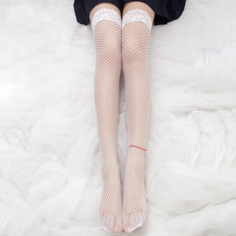 ถุงเท้า ถุงน่องเซ็กซี่ sexy สีเนื้อ ลายแห ขาเรียว ถุงน่องญี่ปุ่น ชุดนอนไมได้นอน