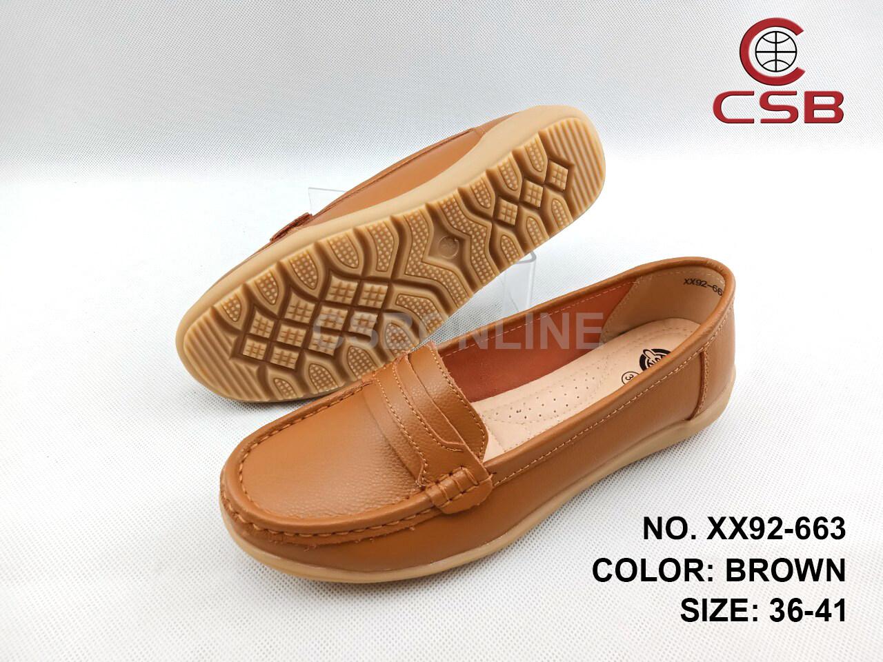 XX92-663 รองเท้าแฟชั่น Moccasin ทำจากหนังแท้ ? ไซส์ปกติ พื้นทำจากยางพารากันพื้นลื่นได้ดี