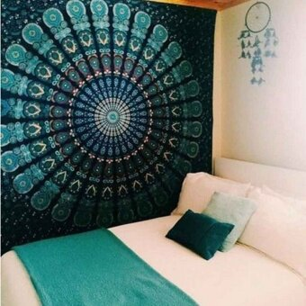 150cmx130cm Boho Wall Carpet Tapestry Mandala Tapestry Crystals Blue Wall Art Tapestry Indian Decoration Blanket -