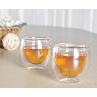 4 pcs X 80ML Double Wall Coffee Glass Mug Cups Insulate Office Tea Mug - intl