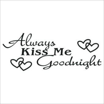 Harga Always Kiss Me Goodnight Quote Sexy Lips Bedroom Words &Phrases Wall Sticker - intl