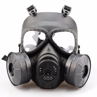 Double Filter Gas Mask Fan Edition Perspiration Dust Full FaceGuard - intl