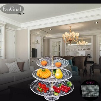 EsoGoal Fruit Plate 3 Tier Acrylic Plate for Fruits Cakes DessertsCandy Buffet Stand for Home & Party with Free 50pcs Fruit Forks- intl