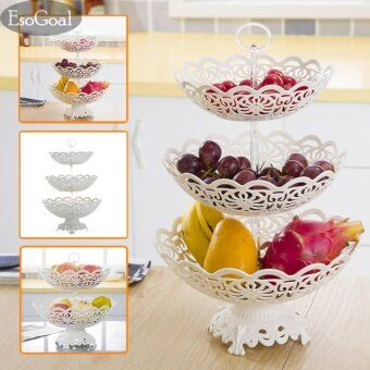 Harga EsoGoal Fruit Plate 3 Tier Hollow Plate for Fruits Cakes DessertsCandy Buffet Stand for Home & Party - intl