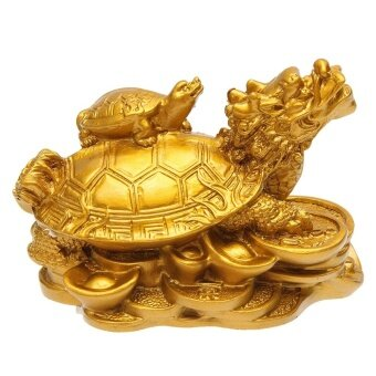 Harga Gold Resin Feng Shui Dragon Turtle Tortoise Statue Figurine CoinMoney Wealth - intl