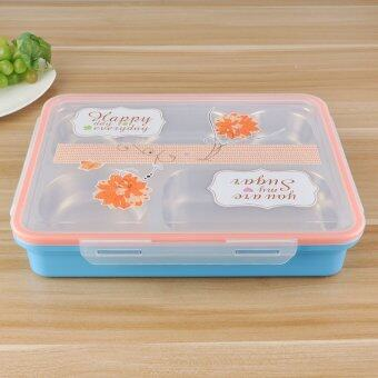 Harga Blue-Insulated Stainless Steel Two Tier Bento Lunch Box for Kids and Adults, Leak Proof Containers