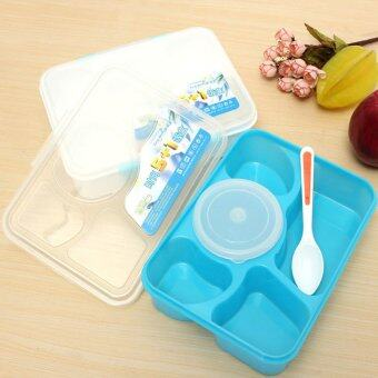Harga Portable Microwave Bento Lunch Box 5+1 Food Container Storage Box a(Blue) - Intl