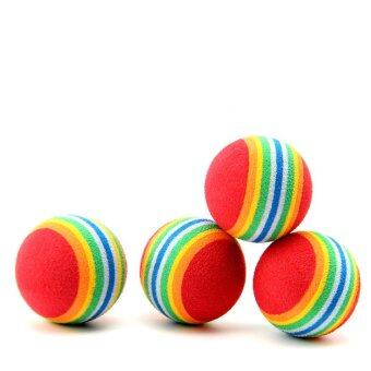 Harga 6 x Colorful Pet Cat Kitten Soft Foam Rainbow Play Balls Activity Funny Toys - INTL