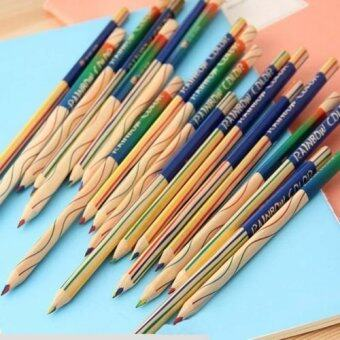 Harga Black Horse Lot Rainbow Color Pencil 4 in 1 Colored Drawing Painting Pencils 15pc - intl