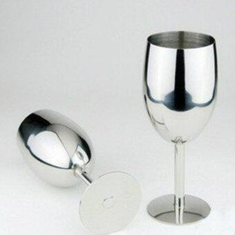 Harga New fashion High-end atmosphere Brilliant Stainless Steel Wine Glass Wine Tasting Goblet - intl
