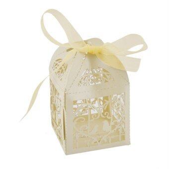 Harga USTORE 50pcs/set Wedding Sweets Favor Candy Gifts Box Ribbon Style Candy Gift Bag - intl