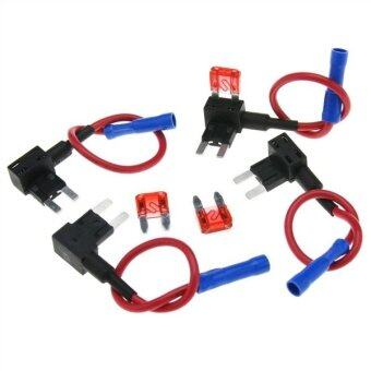 Harga 4pcs Universal Add A Circuit Mini Blade Fuse Holder with 10A Blade Fuse - Size M