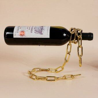 Harga Magic Iron Chain Wine Bottle Stand Wine Rack Home Decoration Figurine Miniature Wine Holder 1PCS(Gold) - intl