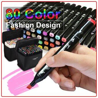 Harga TouchFive Art Animation Design Sketch Twin Marker Pen Broad Fine Point (Fashion Design)-80 Color (Black)