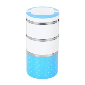 Harga Cute Insulation Bento Stainless Steel Food Container Thermal Lunch Storage Three Layer (Blue) - INTL