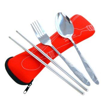 Harga 3pcs / Set Portable Stainless Steel Dinnerware Tableware Set Spoon Fork Chopsticks with Pull Chain Case Red