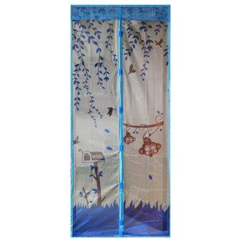 Harga Home Door Insect Net Magnetic Closure Screen Bug Mosquito Fly Mesh Guard Curtain 90cm*210cm (Blue)