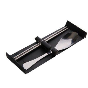 Harga Stainless Steel Cutlery Travel Chopsticks Spoon Set Flatware Portable Reuse