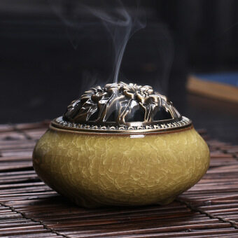 Harga Ceramic Incense classical style Incense burner censer, Chinese Ge Kiln Porcelain Decorated Charcoal Censer