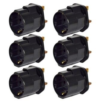 Harga MENGS® 6Pcs EU To GB Earthed Travelling Plug Adapter With 13A Fuse And 16A / 250V Max Load - Black