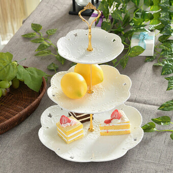 Harga Crown Cake Cupcake Plate Stand Handle Party Wedding Dessert Fruit 3Gold - Intl