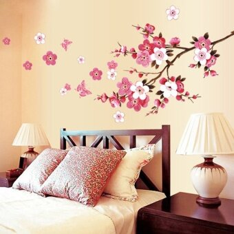 Harga Cherry Blossom Wall Poster Waterproof Background Sticker for Bedroom Cafe