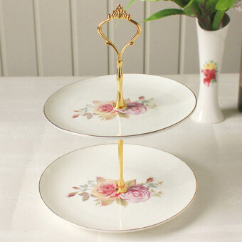 Harga Crown Cake Cupcake Plate Stand Handle Party Wedding Dessert Fruit 2Gold