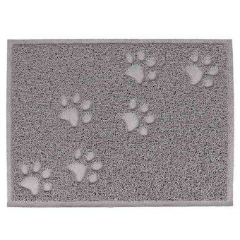 Harga PVC Waterproof Rectangle Paw Claw Pattern Pet Dog Cat Food Bowl Mat Kitchen Door Floor Mat Grey