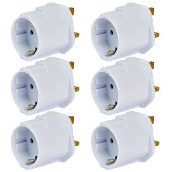 Harga MENGS® 6Pcs EU To GB Earthed Travelling Plug Adapter With 13A Fuse And 16A / 250V Max Load - White