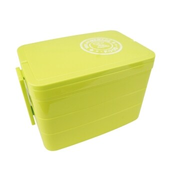 Harga 2570ml 3layer Rectangle With Handle Lunch Box Bento (Green)