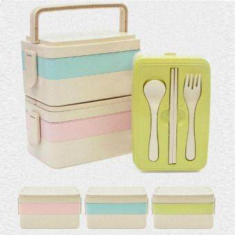 Harga 3 Layer Creative multilayer tableware bento lunch eat rice husk tableware students portable sealed boxes(blue) - intl