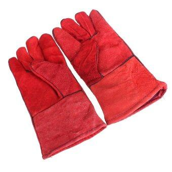 Harga 12 High Temperature Welding Wear-resisting Labor Leather Gloves Safety Comfort)